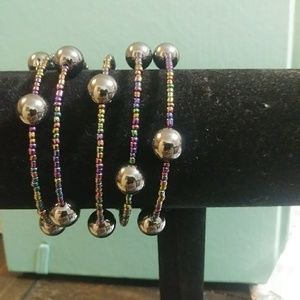 bracelet made of glass beads and metal pearls